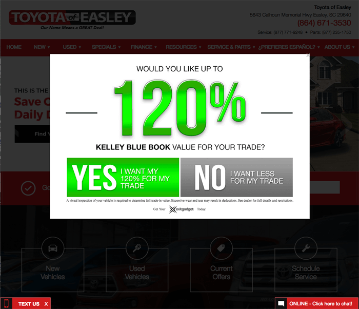 Toyota Of Easley Is Succeeding With ExitGadget! You Can Too!